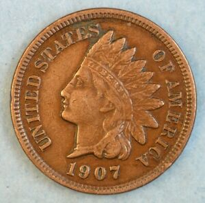 1907-Indian-Head-Cent-Vintage-Penny-Old-US-Coin-Liberty-Full-Rims-Fast-S-amp-H-499