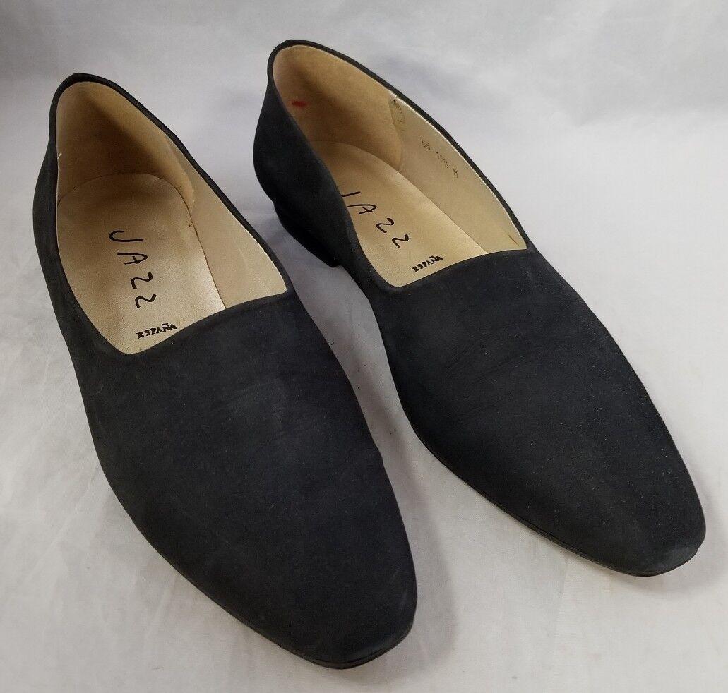 Jazz Womens Low Heel Pumps Black Suede Leather Soles Pride 10.5 Med Made Spain