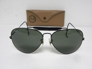 2f379e25b1 Vintage B L Ray Ban Outdoorsman II Black Cable Wrap Temple G-15 62mm ...