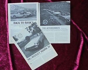 Three 1973 76 Mg Midget Road Track Reprint Articles Comparo Fiat