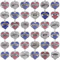 New Family Crystal Love Heart Pendant Rhinestone Necklace Chain Jewellery Charm