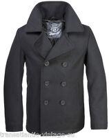 Brandit Classic Vintage Navy Pea Coat Mens Army Reefer Wool Marine Jacket Black