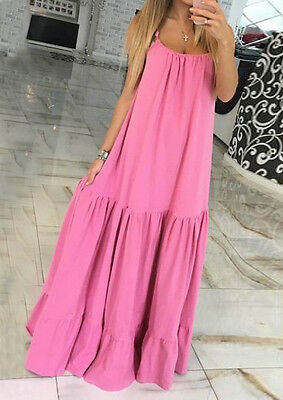 Woman Sleeveless Evening Party V Neck Beach Boho Summer Sundress Long Maxi Dress