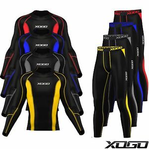 New-Mens-Compression-Armour-Base-layer-Top-Skin-Fit-Shirt-Leggings-set
