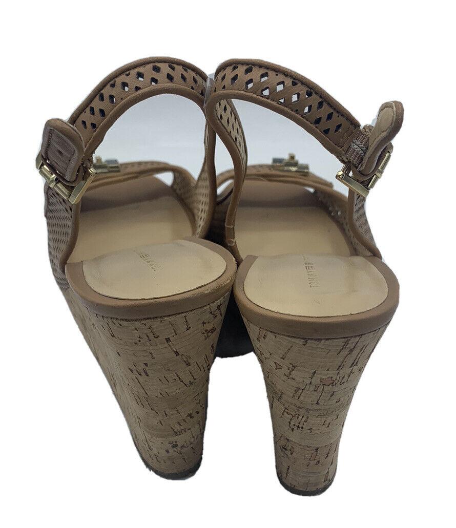 Tommy Hilfiger Size 8.5 M Tan Leather Cork Wedges - image 5