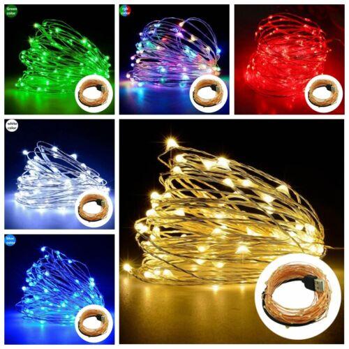 3//5//10M LEDs USB String Fairy Lights Christmas Copper Wire Wedding Lamp Decor yu