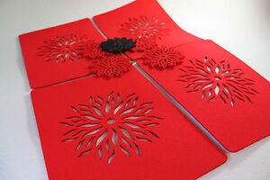 Placemats-amp-Coaster-Flames-Aster-Flower-Felt-TableMat-Set-of-8-pieces-Laser-Cut