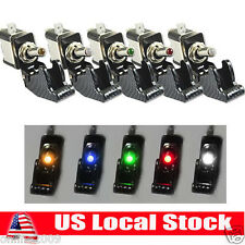 5Pcs 12V 20A 5Colors Race Car Truck Carbon Fiber LED Light Toggle Switch SPST US