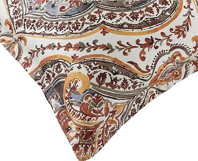 2 Tahari Medallion Paisley Standard Quilt Pillow Shams Red Brown Beige New