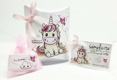 Bomboniera calamita battesimo comunione compleanno unicorno personalizzata
