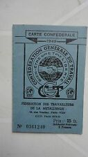 CARTE CONFEDERALE CGT 1949 FEDERATION DE LA METALLURGIE METAUX