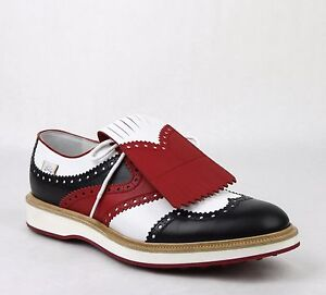 044e289c5 Gucci Men's Leather Brogue Fringed Oxford Golf Shoes White/Red ...