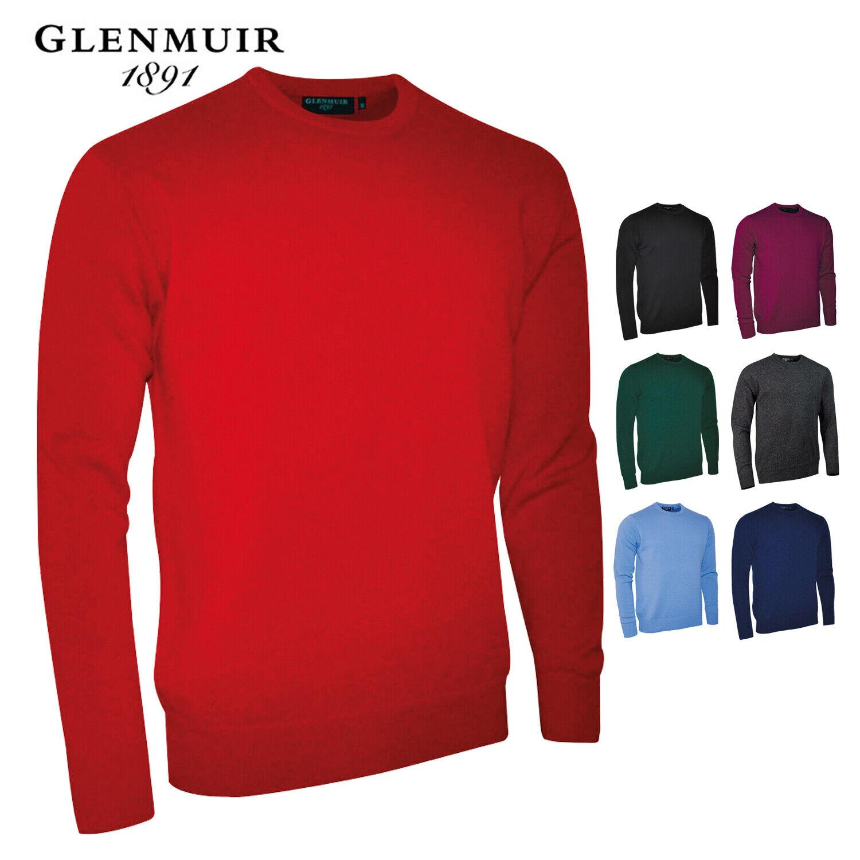 Glenmuir GM011 Lana D'Agnello Girocollo da Uomo Semplice Maglione Cardigan Smart Fit BPL5902