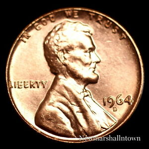 1964-D-Lincoln-Memorial-Penny-Uncirculated-Cent-from-Bank-Roll