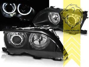 CCFL-Angel-Eyes-Scheinwerfer-fuer-BMW-E46-Limousine-Touring-schwarz