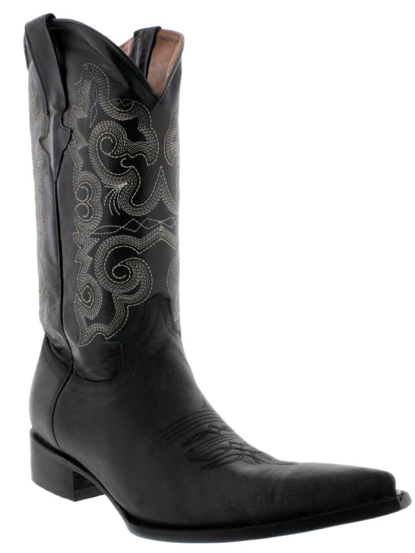 Uomo nero nero nero Leather Design Dress Cowboy stivali Rodeo Pointed 3X Toe 314f80