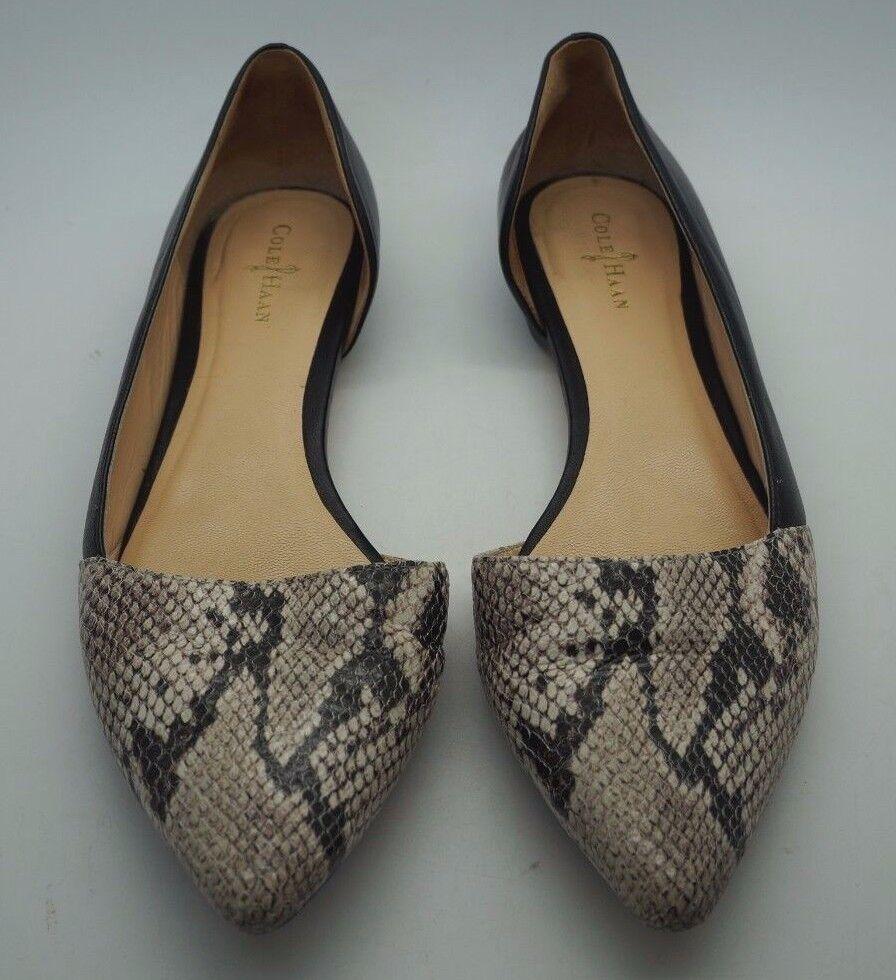 COLE HAAN Snakskin Amalia Skimmer Pointed Toe Flats Schuhes - Größe 7.5