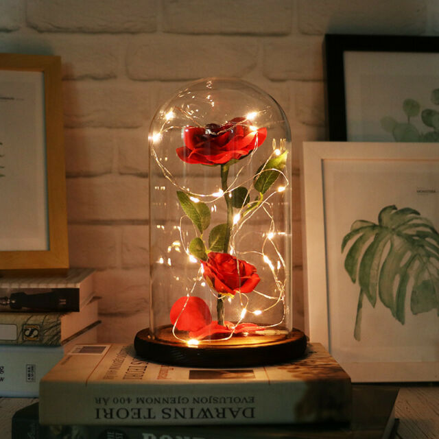 WR 24k Gold Dipped Real Rose Flower Glass Dome LED Light Gifts For Girlfriend