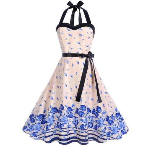 Damen Rockabilly Kleid Neckholder Swing Petticoat Sommer Freizeikleider Gr.34-42