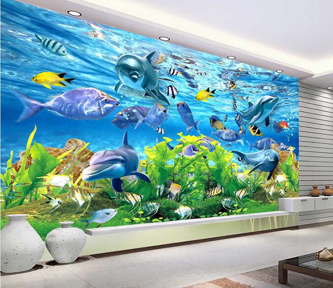 3D Delphin-Aquarium 724 Tapete Wandgemälde Wandgemälde Wandgemälde Tapete Tapeten Bild Familie DE Summer   Ausgezeichnetes Handwerk    Große Auswahl    Niedriger Preis und gute Qualität  176b1e