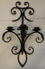 GOTHIC STYLE BLACK METAL TAPER VOTIVE CANDLE HOLDER WALL SCONCE