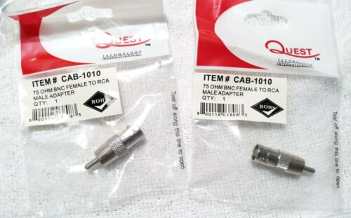 Quest Tech CAB-1010 BNC Female To RCA Male Adapter 75 ohm 2 Count