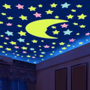 100-LEUCHTSTERNE-BUNT-Selbstklebend-Nachtleuchtend-Wandtattoo-Sticker-Nacht-Star