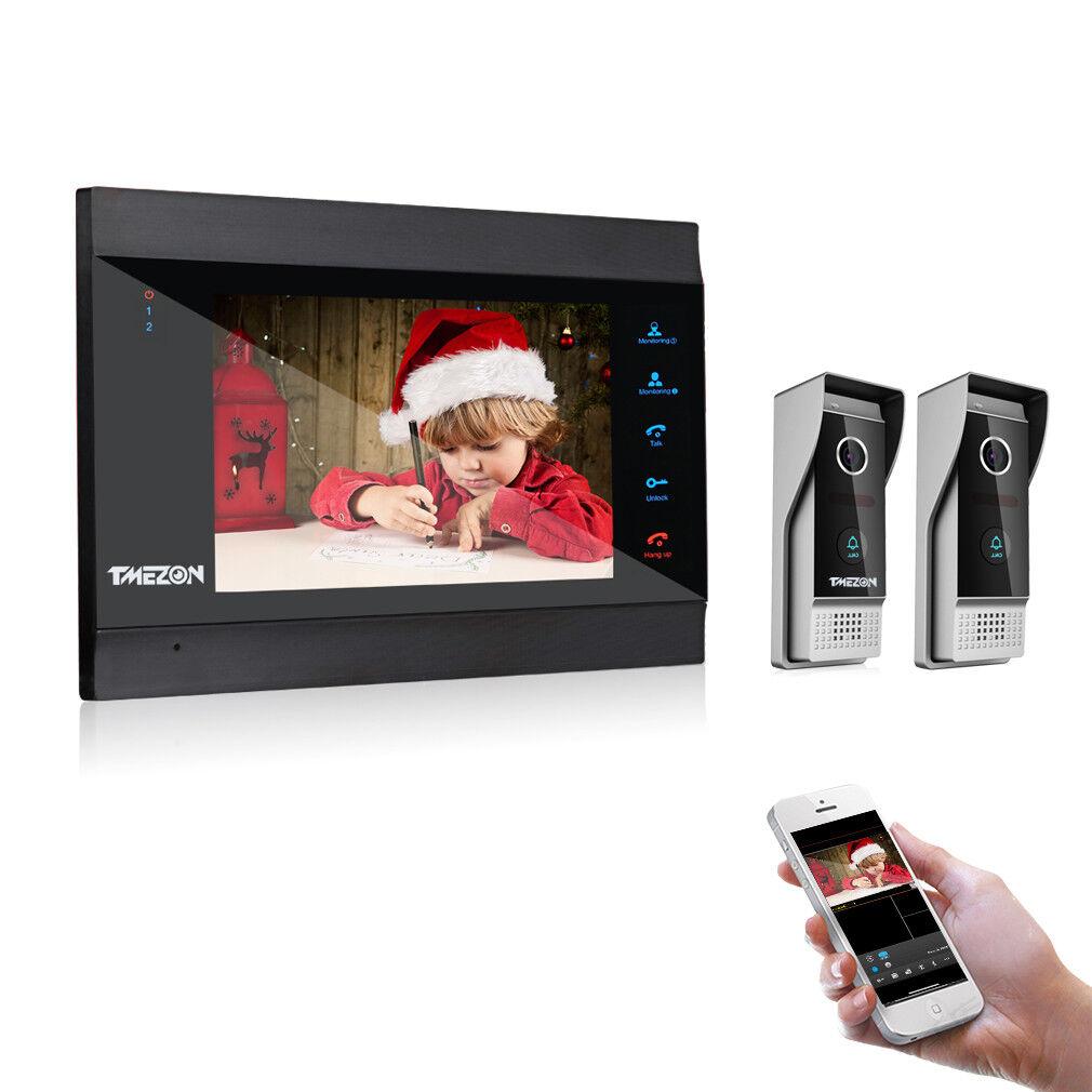 TMEZON WLAN Video Gegensprechanlage System 7 Zoll Monitor  2 Verdrahteter Kamera