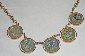 PRICED TO SELL! 18 Karat gold necklace with five ancient coins, Second Temple ea