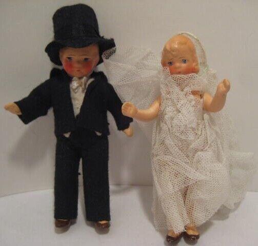 Old German Bisque 4  Pair Bride & Groom Wedding Dolls in Felt & Lace Clothing