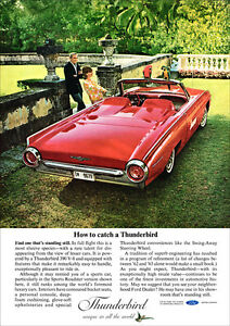 FORD THUNDERBIRD 63 SPORTS ROADSTER RETRO A3 POSTER PRINT FROM ADVERT 1963