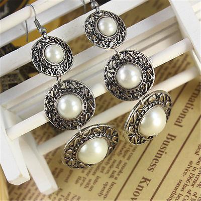 Boho vintage pearl on silver circle chandelier earrings