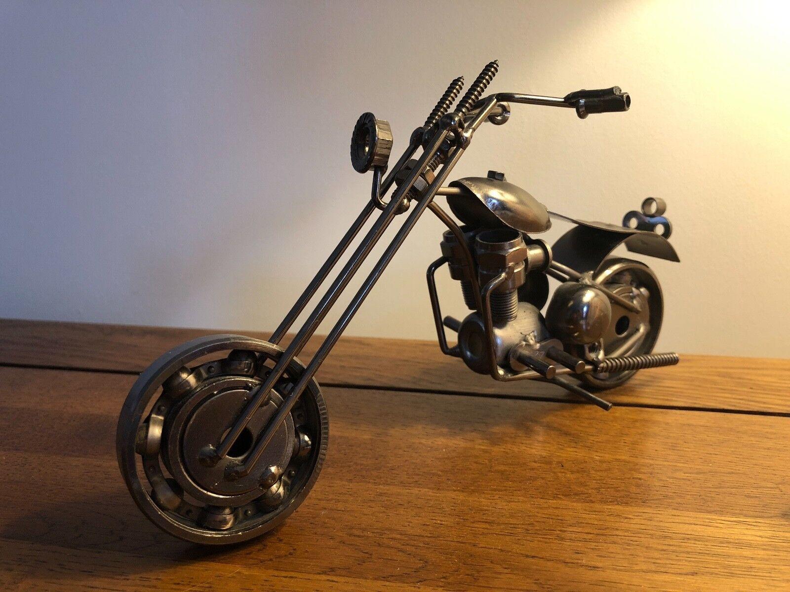 Scrap Metal Art Handmade Nuts and Bolts Chopper Motorbike Gift Model Motorcycle