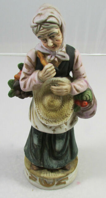 Vintage Handpainted Ceramic Figurine Girl With Basket Feeding Ducks Unbranded 8 Inches Tall 1970s