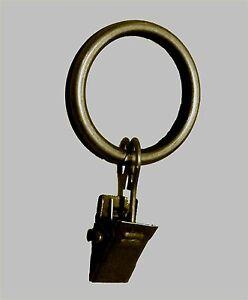 10-Metall-Gardinenringe-messing-antik-mit-Klammer-12-16-20-mm