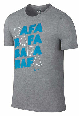 Nike Men/'s Tennis Court RAFA Nadal Graphic T-Shirt L Gray//Blue 882920-063 NWT