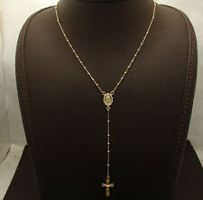 "17"" 2mm Rosary Ball Chain Medal Cross Crucifix Necklace Real 10K Yellow Gold"