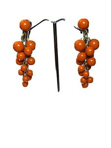 VTG-Statement-Dangle-Earrings-Ball-Drop-Cluster-Orange-Mod-60s-Flashy-Lucite