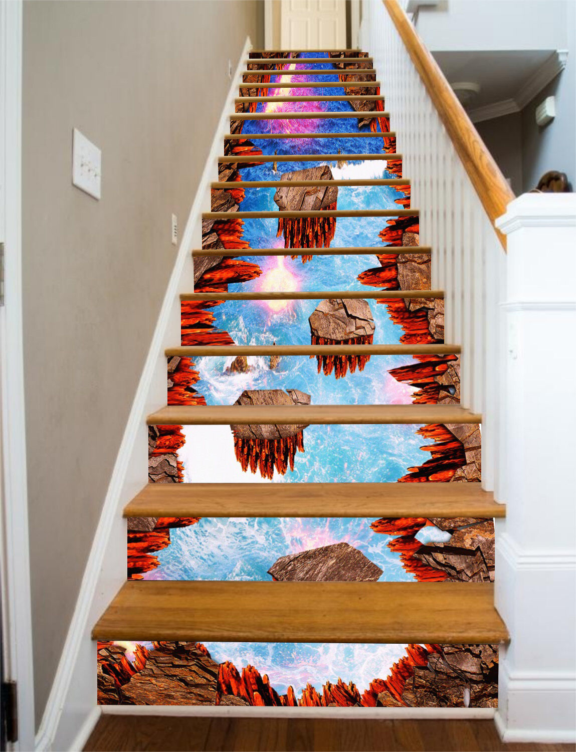3D Sky Islands Stair Risers Decoration Photo Mural Vinyl Decal Wallpaper CA