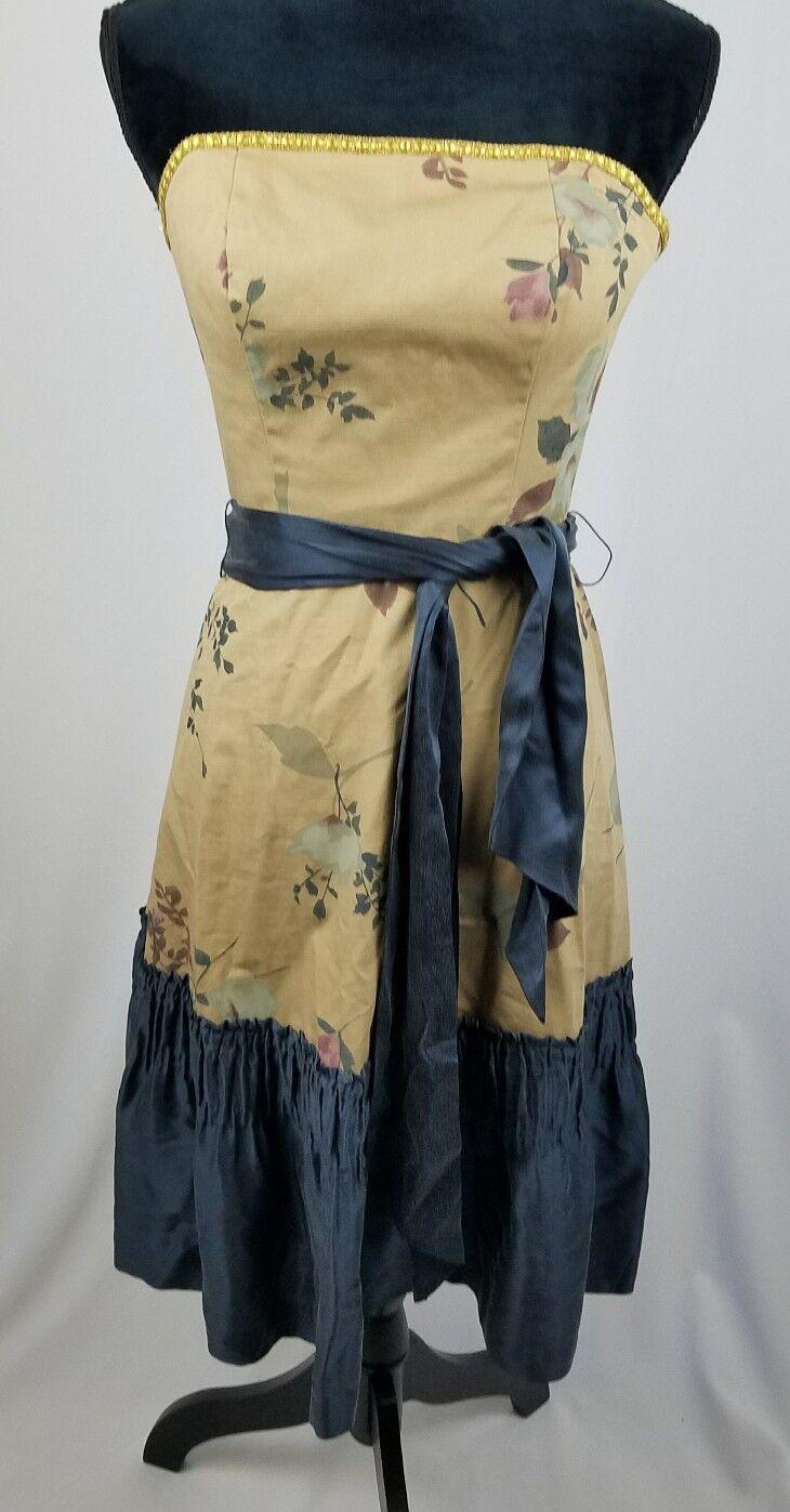 Anthropologie Tabitha Damen 2 den Winter Flamme Kleid Trägerlos Seide