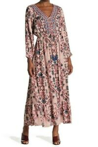 NWT-Angie-Pink-Floral-Long-Sleeve-Embroidered-Drawstring-Maxi-Dress-Boho-S-M-L