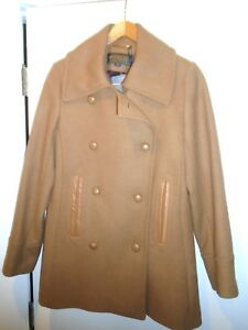Pendleton-Wool-Blend-with-Leather-Trim-Double-Breasted-Peacoat-NWT-size-10-375