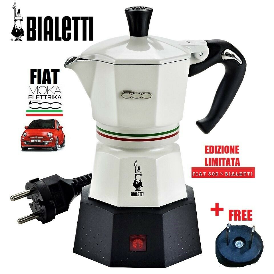 Fiat 500 BIALETTI Elettrika ITALIA expresso 2 tasses Percolator Blanc Bianco CAFE