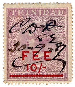 I-B-Trinidad-amp-Tobago-Revenue-Fee-Stamp-10-on-5-OP