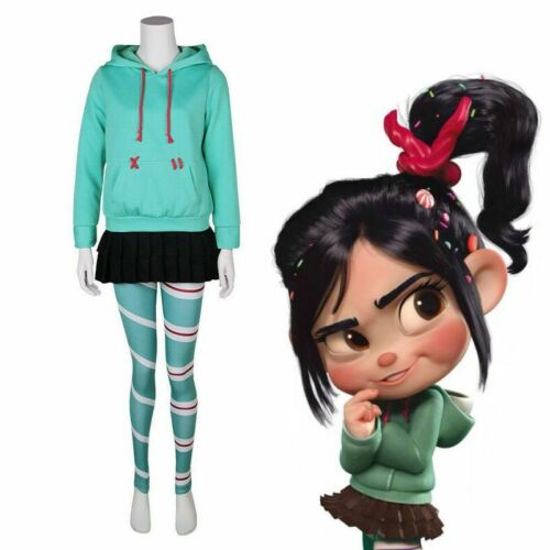 Wreck It Ralph Vanellope Cosplay Costumes Adult Kid Hoodie Skirt Leggings Outfit