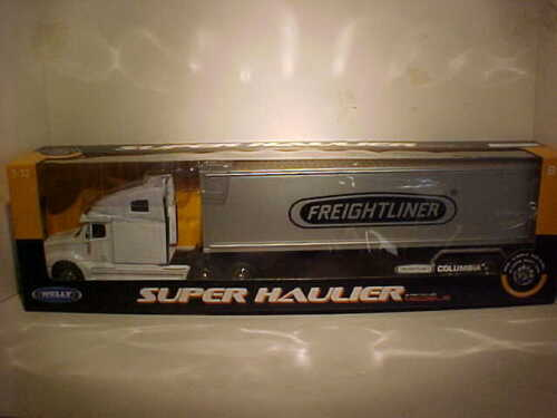 Freightliner Columbia Semi Truck Trailer Container Diecast 1:32 Welly 22in White
