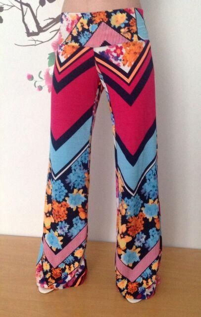 Palazzo Pants Wide Leg Printed Chevron Zig Zag Floral Yoga Stretch Pant small