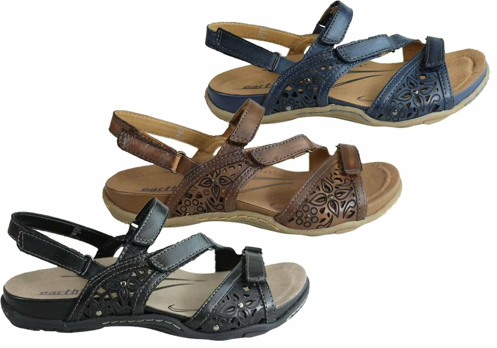 Brand New Earth Maui 2 damen Comfortable Supportive Flat Leather Sandals