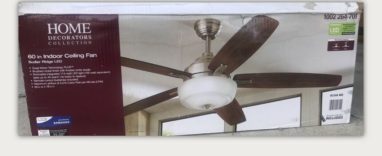 Home Decorators 51714 60 Inch Ceiling Fan With Led Light Silver For Sale Online Ebay