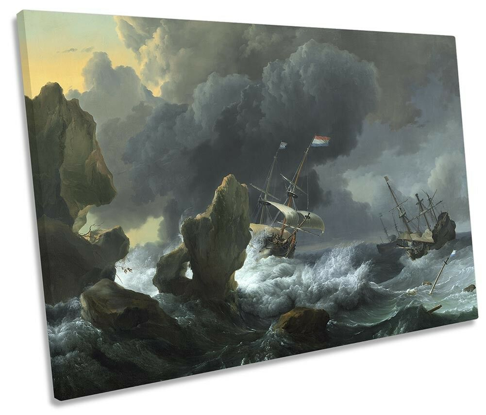 Ludolf Bakhuizen Ships Rocky Coast Picture SINGLE CANVAS WALL ART Print